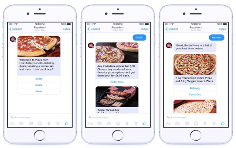 messenger chatbot used by pizza hut